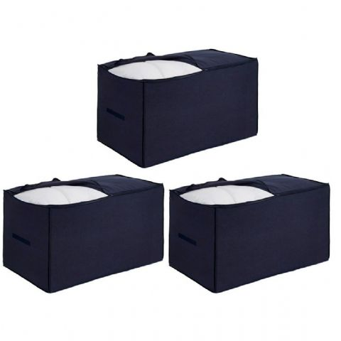 3 Giant Breathable Navy Blue Storage Bags - With Handles - Holds Super King Size Duvets
